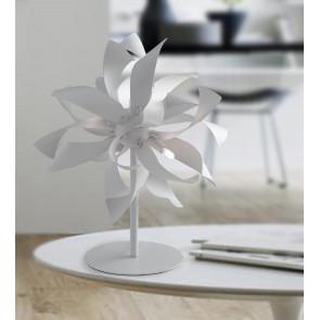 I-BLOOM-L BCO - Lumetto Moderno Lampada da Tavolo Bianco Silver Alluminio G9