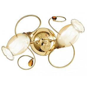 I-ELY / PL2 GOLD - Plafonnier Lampe classique Diffuseur floral Décoration en verre Cristal K9 Structure métallique Or E14