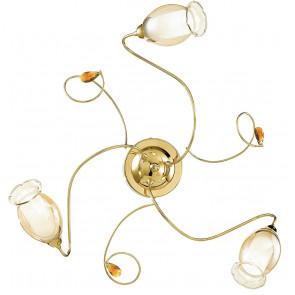 I-ELY/PL3 ORO - Plafoniera Oro diffusori Floreali decoro Cristallo K9 Soffitto Parete Lampada Classica E14