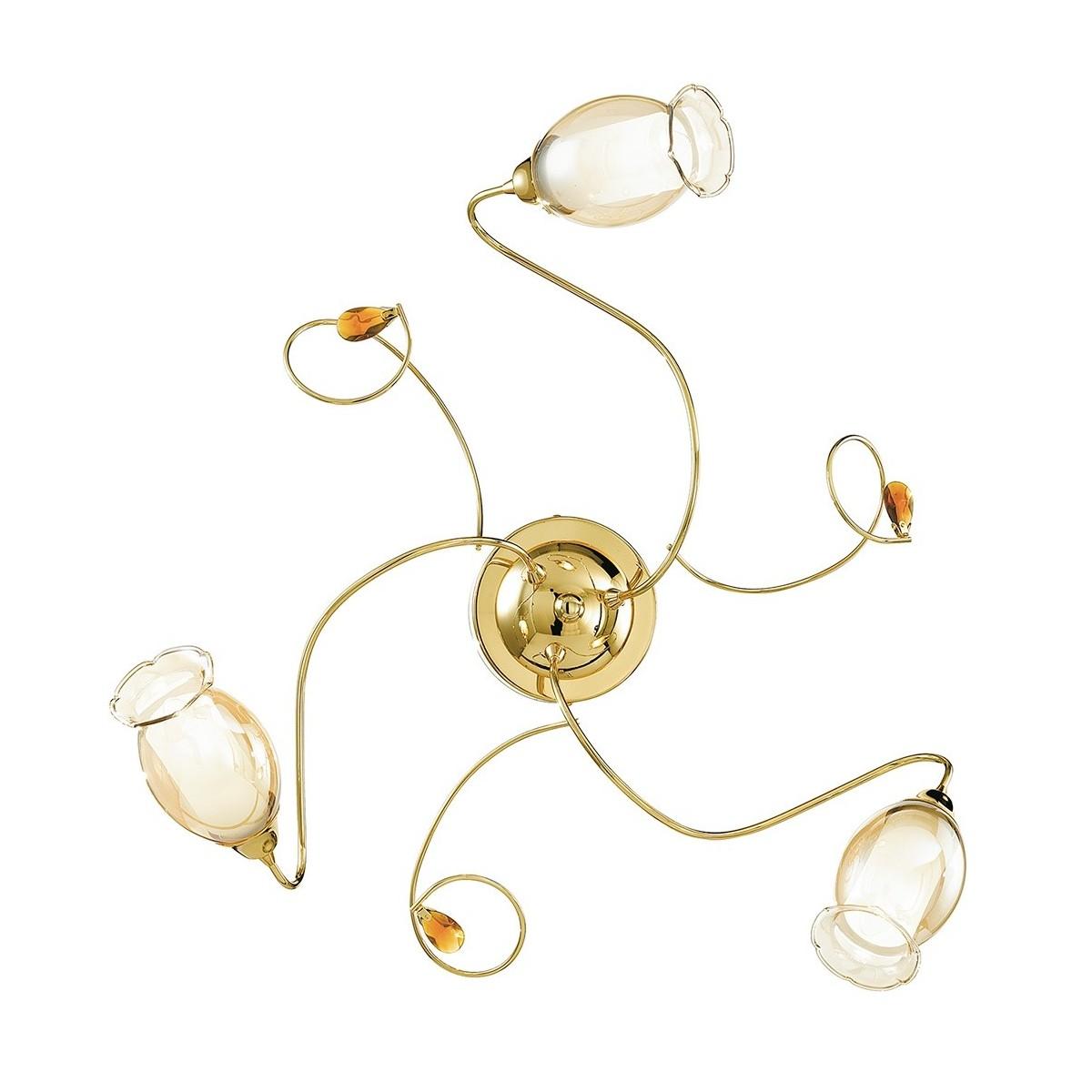 I-ELY / PL3 GOLD - Plafonnier en or avec diffuseurs floraux et décoration en cristal K9 Plafonnier Classic E14