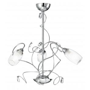 I-ELY / 3 - Lustre à suspension Abat-jour chromé Décoration en verre K9 Classic Crystal E14