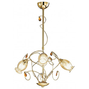 I-ELY / 3 GOLD - Élégant lustre K9 Crystals Golden Metal Classic Floral abat-jour E14