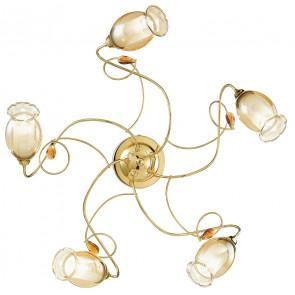 I-ELY / PL5 GOLD - Plafonnier Classique Doré Doré Diffuseurs floraux décorations K9 Cristaux Plafond Mur E14