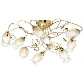 I-ELY / PL9 GOLD - Plafonnier doré avec décoration en cristal K9 Abat-jour floral Lampe classique en verre E14