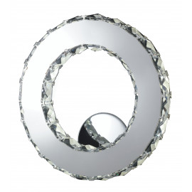 LED-MELODY/AP - Applique Anello Metallo Cromato Cristallo K9 Lampada Moderna Led 12 watt Luce Naturale