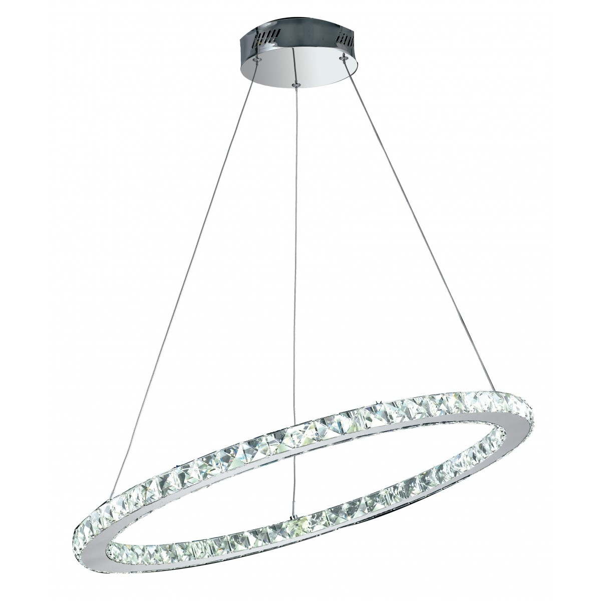 LED-MELODY / S70 - Suspension anneau oblique K9 Crystals Metal Chrome Led lustre 36 watts Natural Light