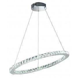 LED-MELODY / S70 - Suspension anneau oblique K9 Crystals Metal Chrome Led lustre 36 watts Natural Light