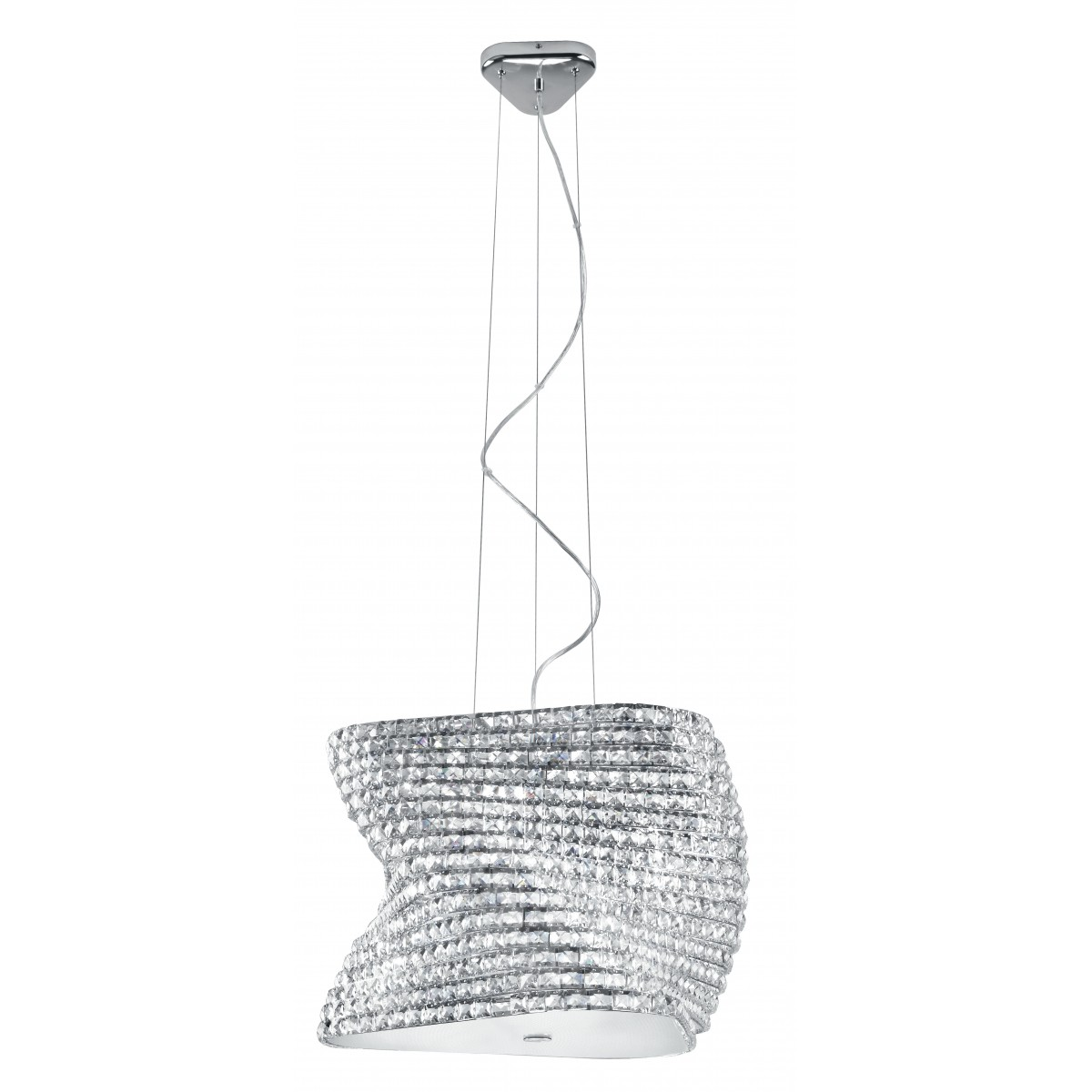 I-FLAMENCO / S55 - Suspension de lustre en métal chromé K9 Diffuseur de cristaux Modern Glass G9
