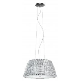 I-MUSICA/S51 - Lampadario Sospeso Circolare Metallo Cromo Cristalli K9 dffusore Vetro Moderno G9