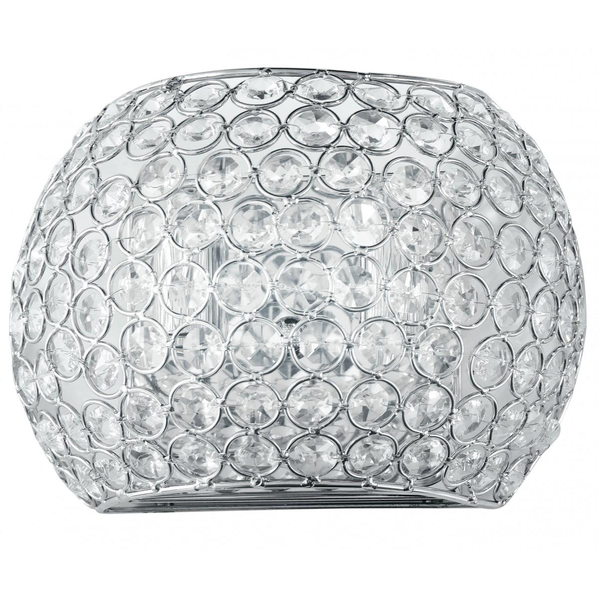 I-PLANET/AP - Applique Metallo Cromo Cristalli K9 Tondi Lampada Elegante G9