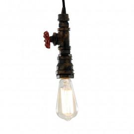 Sospensione Amarcord con Manopola per Rubinetto Struttura in Metallo Lampadina a Luce Calda