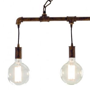 Lampadario Amarcord in Metallo Effetto Ruggine con 4 lampadine a Luce Calda