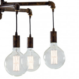 Lampadario Amarcord in Metallo Effetto Ruggine 6 lampadine a Luce Calda