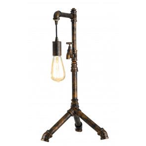 I-AMARCORD-L1 - Lampada da Tavolo Rustica Rubinetto Metallo Invecchiato Vintage E27