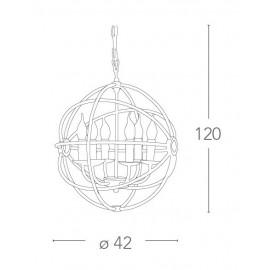 Pendentif à paillettes en métal noir avec abat-jour à cage sphérique FanEurope
