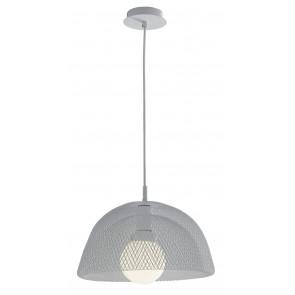 Lampadario Sospensione Moderna Rete in Metallo Bianco Interni E27