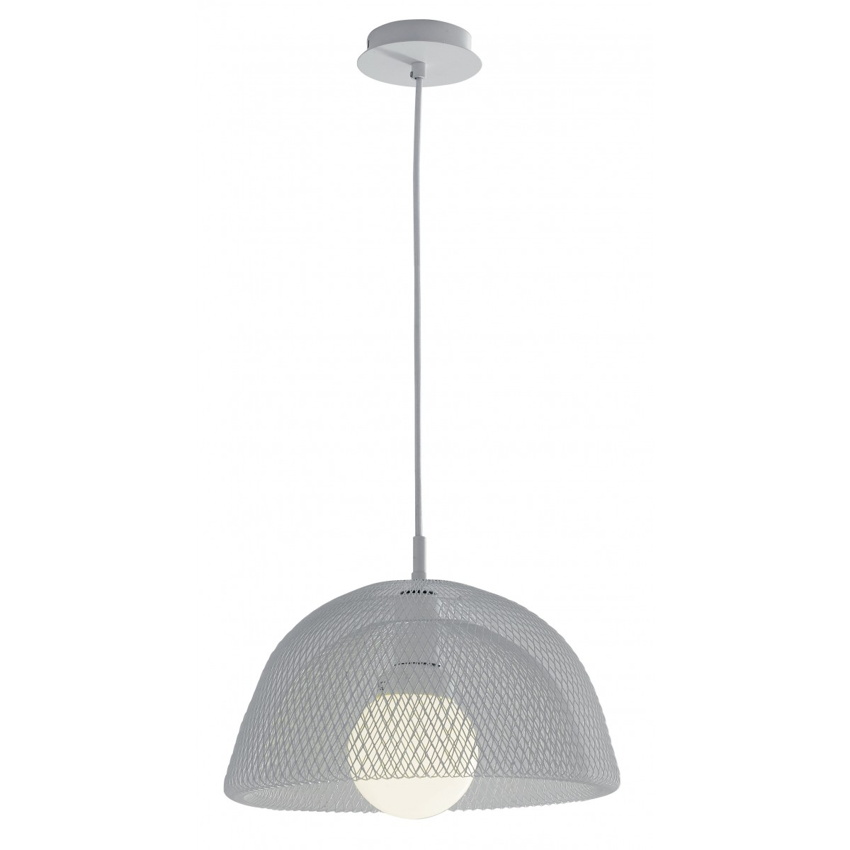 I-HAREM-S37 - Lustre Moderne à Suspension Blanc Métal Filet Intérieur E27