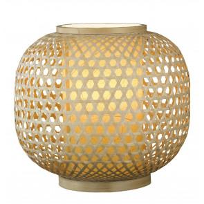 I-ZEN-LUME - Lampe ronde Lampe de table ethnique en bambou naturel tressé E27