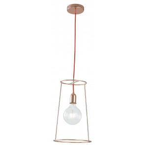 Lustre moderne E27 de câble rouge en métal de suspension minimale en or rose
