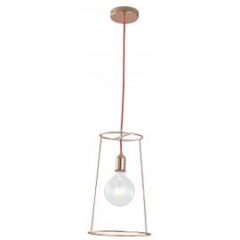 I-FRIDA/S25 - Sospensione Minimal Metallo Oro Rosa Cavo Rosso Lampadario Moderno E27
