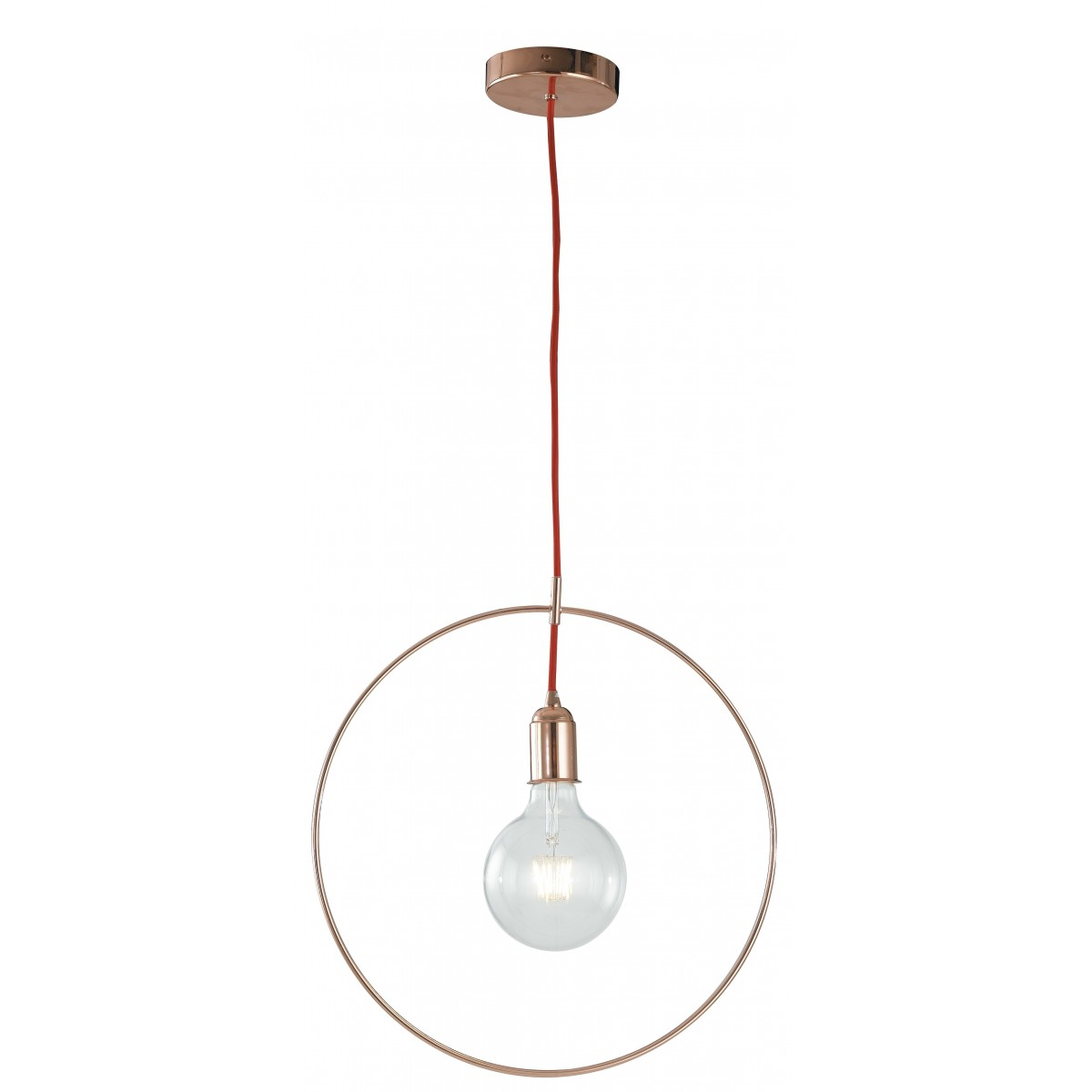I-FRIDA / S40 - Cercle Suspension Métal Or Rose Câble Rouge Lustre Moderne E27
