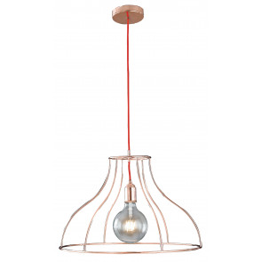 I-FRIDA / S50 - Lustre Suspension Minimal Câble Rouge Métal Or Rose Moderne E27