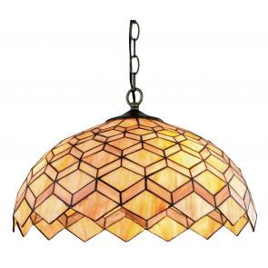 Lustre suspendu classique en métal abat-jour en verre coloré décor géométrique E27