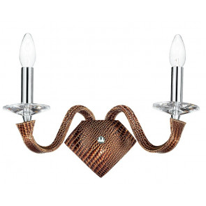 I-OTHELLO / AP2 - Applique Murale Marron Faux Cuir Chrome Finitions K9 Cristal Applique Moderne E14