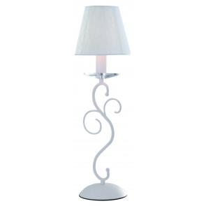I-PERLA/L1 - Lampada da Tavolo Cristallo K9 Metallo Bianco paralume Tessuto Bianco Classica E14