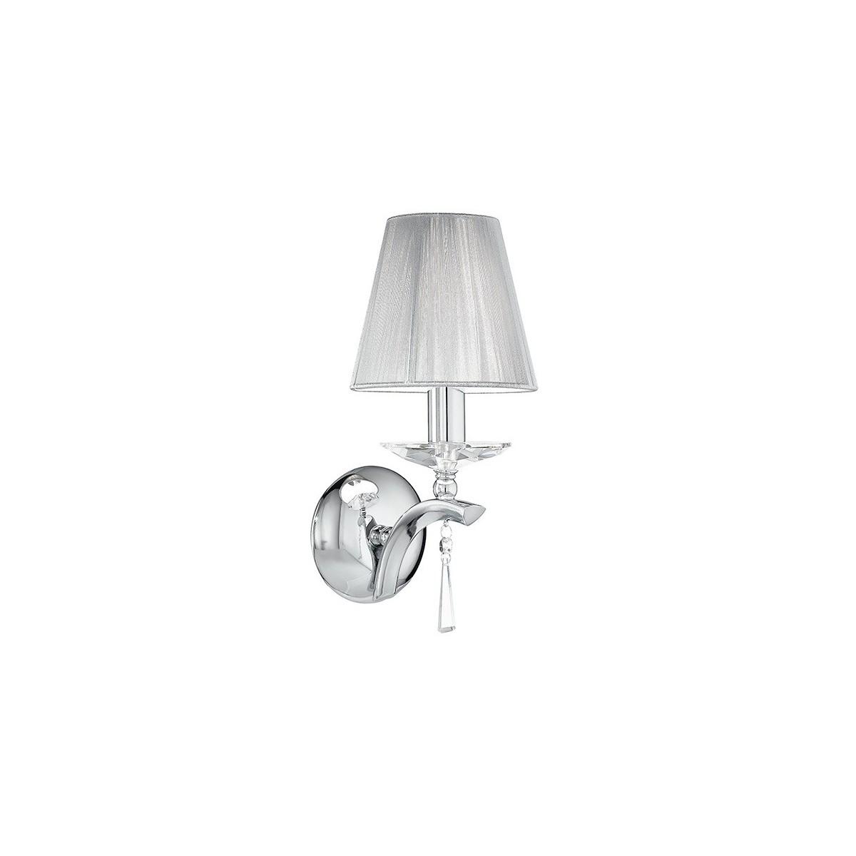 I-ORCHESTRA/AP1 - Applique Elegante Metallo Cristallo K9 paralume Tessuto Lampada Classica E14