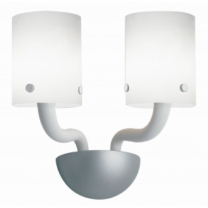 I-AURORA-AP2 BCO - Applique Applique Moderne en Verre Blanc Chrome Finitions E14