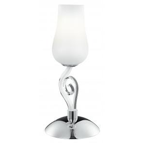 I-ANGEL/L1 - Lampada da Tavolo Classica Vetro Soffiato Bianco Trasparente Decoro Cromo E14