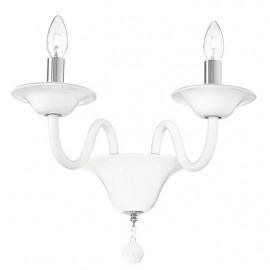 I-SOFFIO/APP - Applique Pasta di Vetro Bianca Finiture Cromate Lampada da Parete Classica E14