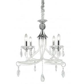 I-ATELIER / 4 - Lustre classique en verre blanc décoré de gouttes K9 Crystal Interior E14