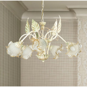 I-SPRING / 5 - Lustre suspendu décoration à la main métal classique verre intérieur E14