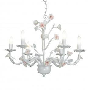 I-CUPIDO/6 - Lampadario Sospeso Bianco Metallo Rose Ceramica Classico E14