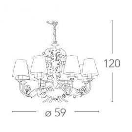 Lampadario 5 luci in Metallo Bianco con Fiori di Ortensia FanEurope