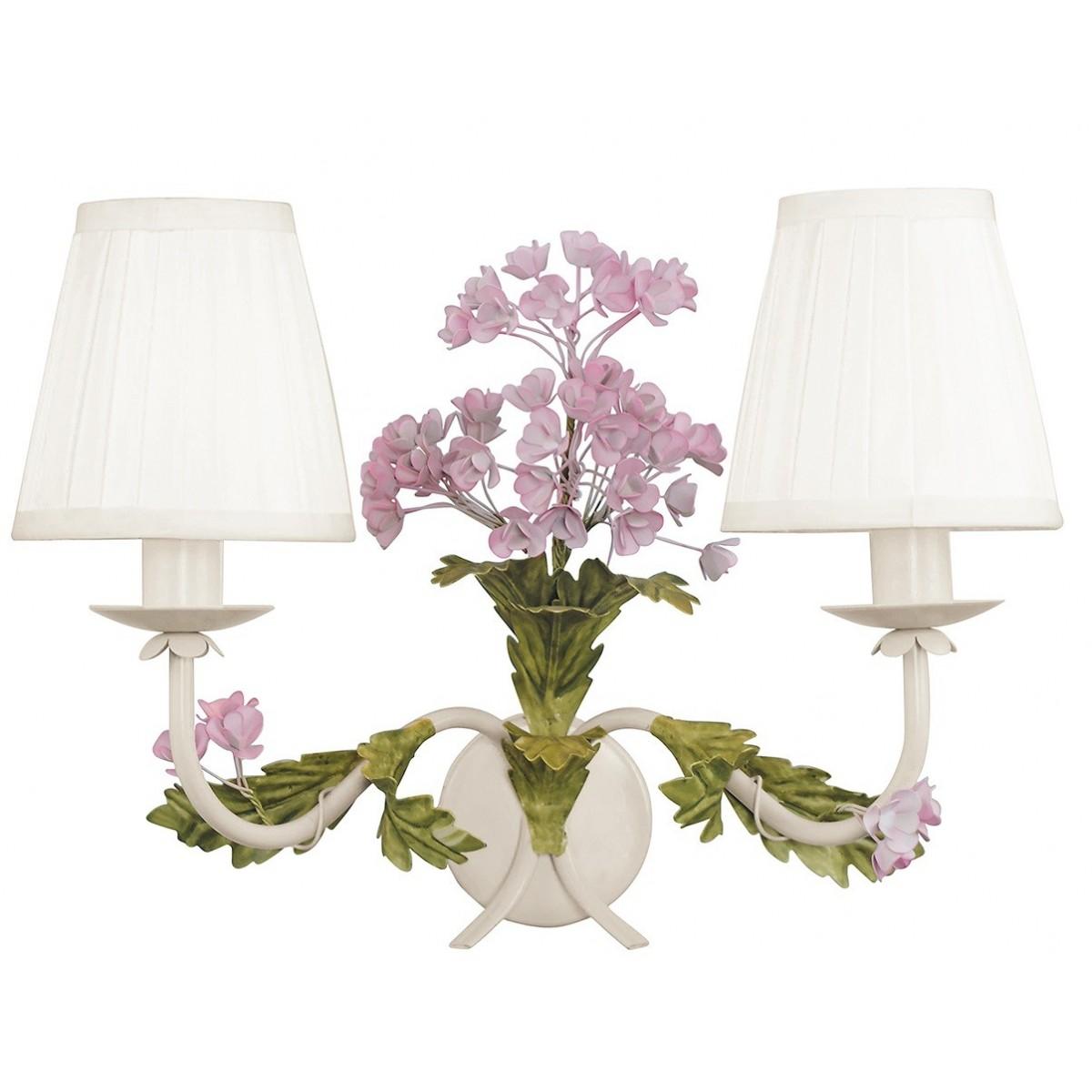 I-ORTENSIA / AP2 - Applique classique en métal blanc Fleurs abat-jour Applique en tissu E14