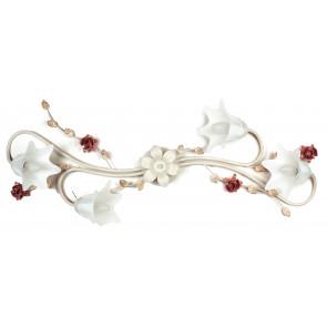 Plafoniera Metallo Bianco Rosso diffusori Vetro Rose Soffitto Parete Classica E14