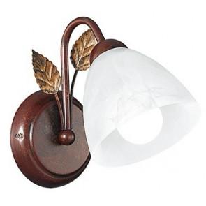 I-POESIA/AP - Applique Foglia Metallo Marrone paralume Vetro Lampada da Parete Classica E14