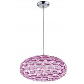 Lampadario Turner Ovale con Gemme in Acrilico Rosa e Struttura in Metallo