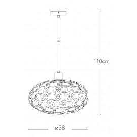 I-TURNER-S1 ROS - Lampadario Ovale Moderno Gemme Acrilico Rosa Sospensione Moderna E27