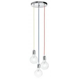 MT3201905 - Suspension 3 lumières câble en tissu bleu vert rouge lustre moderne E27