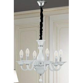 Lampadario Soffio 6 luci in Vetro Bianco con Finiture Cromo FanEurope
