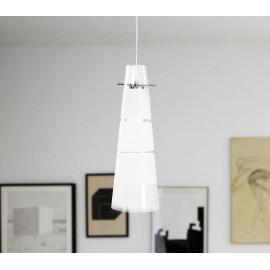 I-CARAIBI/S12 - Sospensione Conica Vetro Trasparente Fasce Bianche Pedente Moderno E27