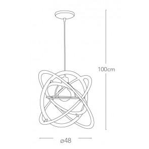 Suspension Atom Acrylique Acier Blanc...