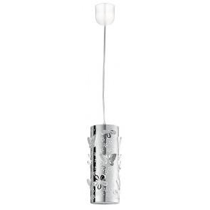 Sospensione Cilindrica Acciaio Intaglio Fiori Farfalle Lampadario Moderno E27