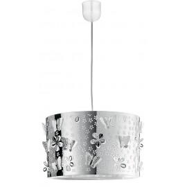 Lustre papillon en acier chromé avec décorations de fleurs et de papillons sculptés FanEurope