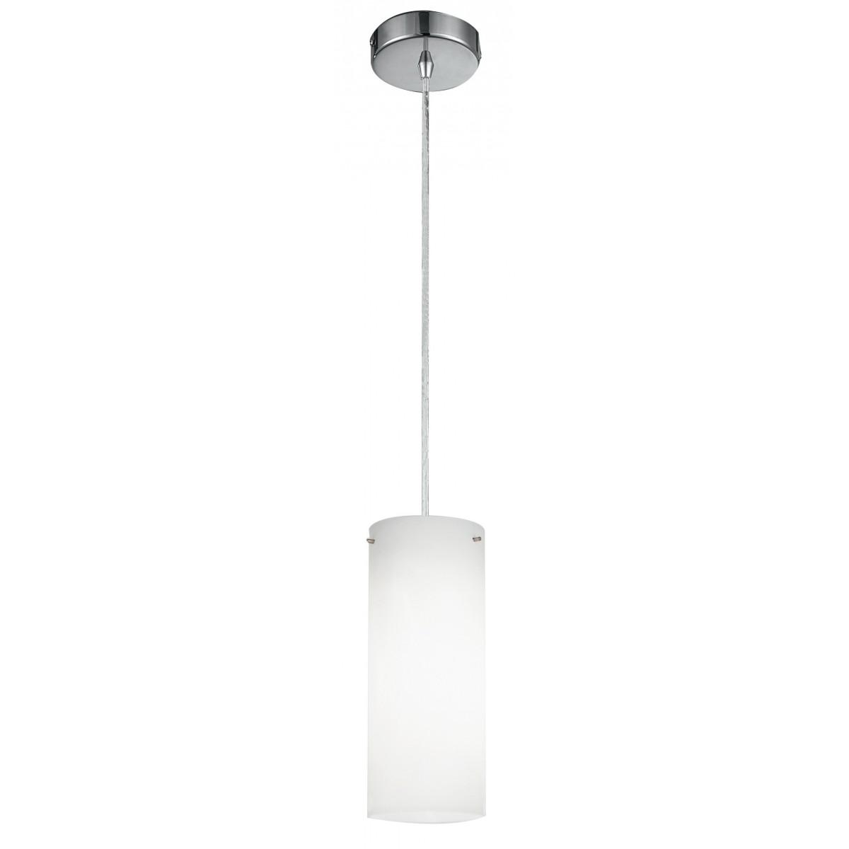 I-STREET/S1 - Sospensione Pendente Cilindrica Vetro Bianco Metallo E27