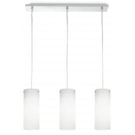 I-STREET / S3 - Lustre en métal 3 suspensions cylindriques Modern White Glass E27